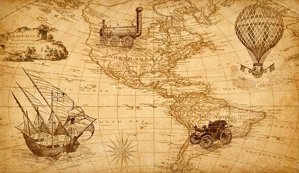 Map, Discovery, America, Ship, Train