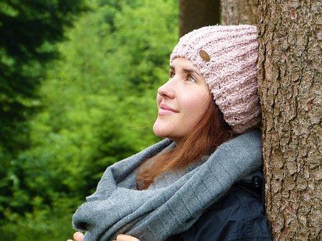 Wanita, Gadis, Hutan, Pohon