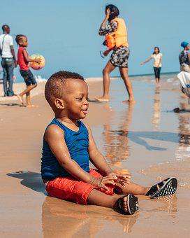 Baby, Black, African, Beach, Infant