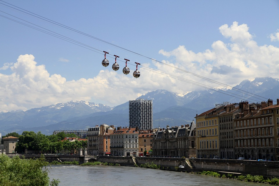 Kolejka Linowa, Grenoble, City, Isère, Francja, Górski
