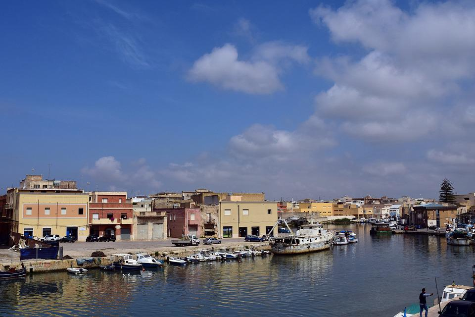 ポート, 川, ボート, 漁港, 小, 地中海, イタリア, シチリア島, マザーラデルヴァッロ, 空, 雲