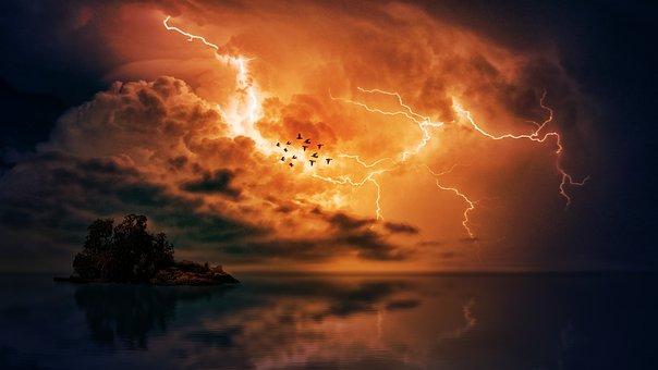 Storm, Hav, Skyer, Ø, Himmel, Flash