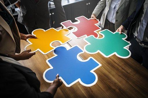 Geschäft, Geschäftsleute, Zusammenarbeit