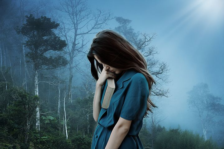 悲しみ、孤独、泣、うつ、1人、不幸、苦しみ、女性