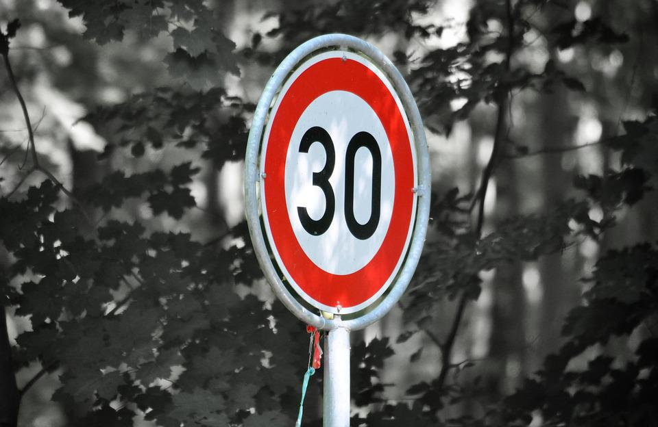 Zone 30, Road Sign, Caution, 30, Street Sign