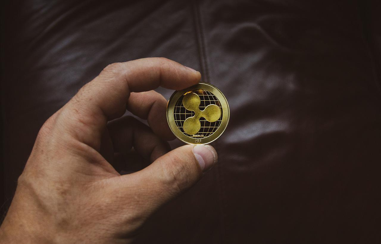 man holding a ripple coin