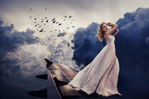 Vrouw, Jurk, Vliegtuigen, Wolken, Hemel