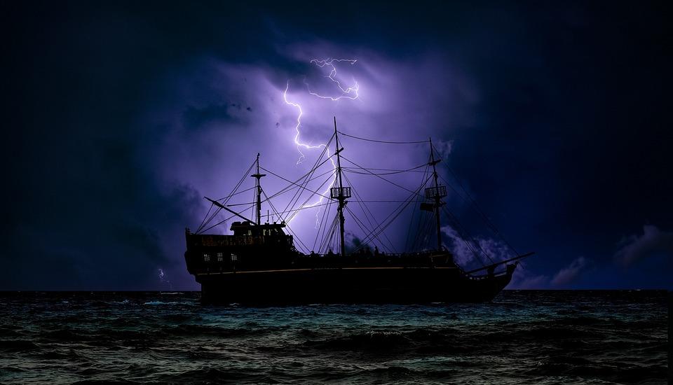 Pirate Ship, Dark, Night, Storm, Lightning, Adventure