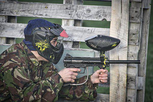 Paintball, Action, Army, Gun, Military