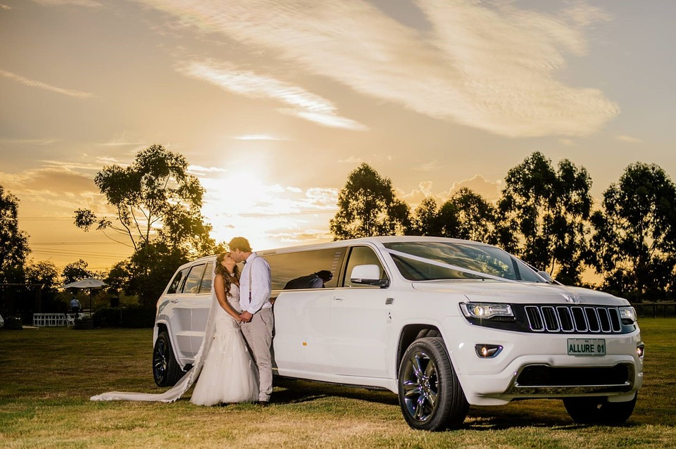 Wedding, Limo, Bride, Groom, Car, Love, White, Female