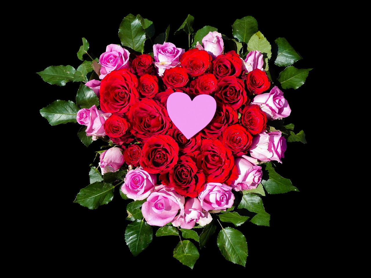 Картинки сердце и роза розы