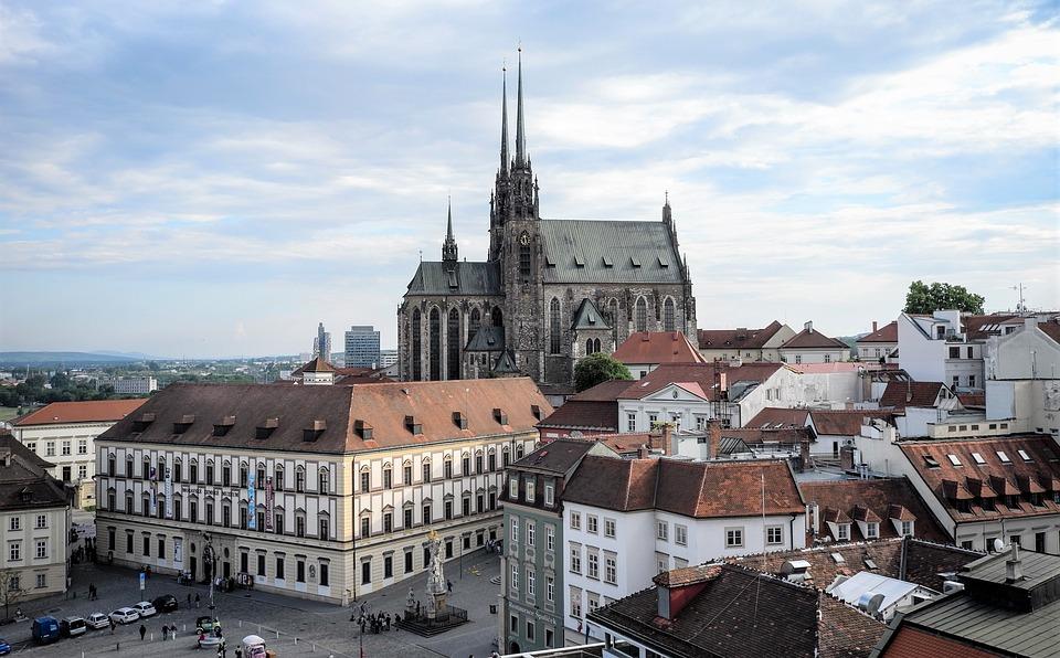 ブルノ, Cz, チェコ共和国, モラビア, 中世, 市, 空, 教会, ドム, 大聖堂