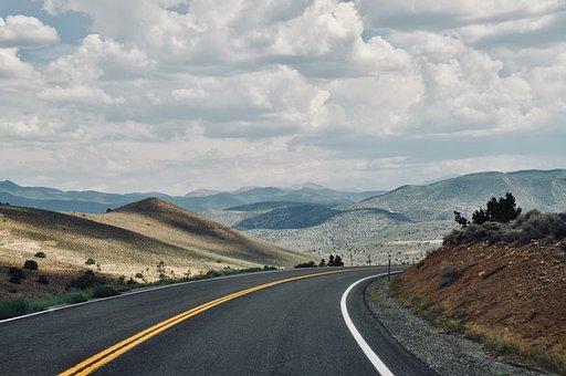 アメリカ, 道路, 風景, 自然, 丘, 雲, 移動中に, 国立公園, ワイド