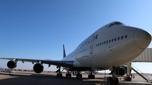 デルタ, 74, 空港, 飛行機, 平面, 航空機, ジェット, 航空会社