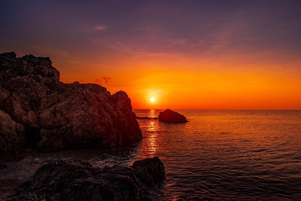 サンセット, 夕焼け, 夕日, 日没, 日本, 光, 海, 空, 雲, 夕暮れ, 水, 波, 太陽