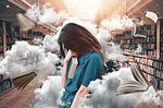 kobieta, biblioteka, książki