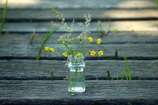 야생화, 꽃다발, 자연, 허브, 섬세한, 봄, 구성