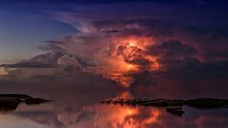 Thunderstorm, Ocean, Twilight
