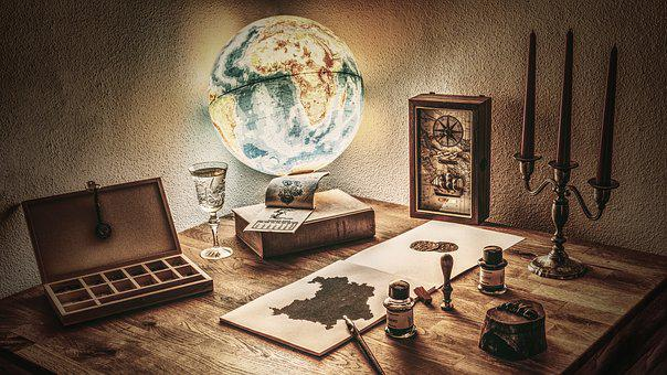 Rustic, Ancient, Map, Globe