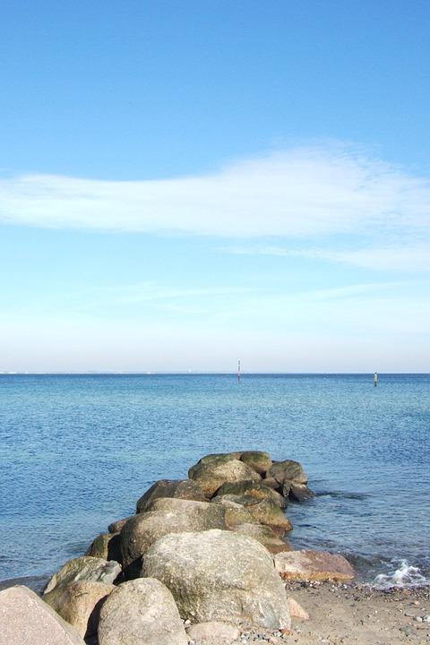 波罗的海, 海, 水, 海滩, 天空, 海滩风景, 德国北部, 性质, 云, 沉默