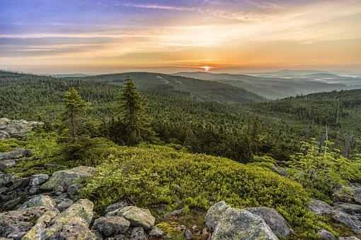 Lusen, Sunrise, Panorama, Paysage