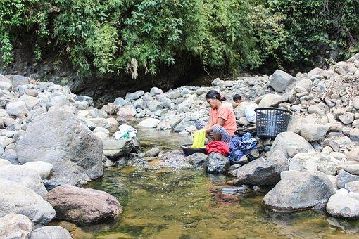 Woman, Washing, River, Female, Water