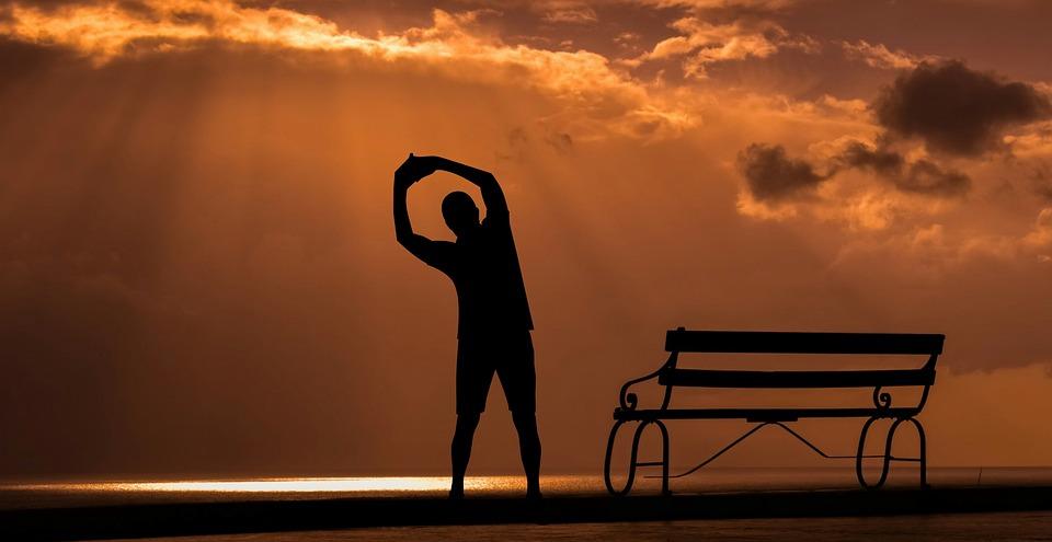フィットネス, 日没, スポーツ, 夕暮れ, オープンエア, シルエット, 運動, 白の背景, ジム, 重量
