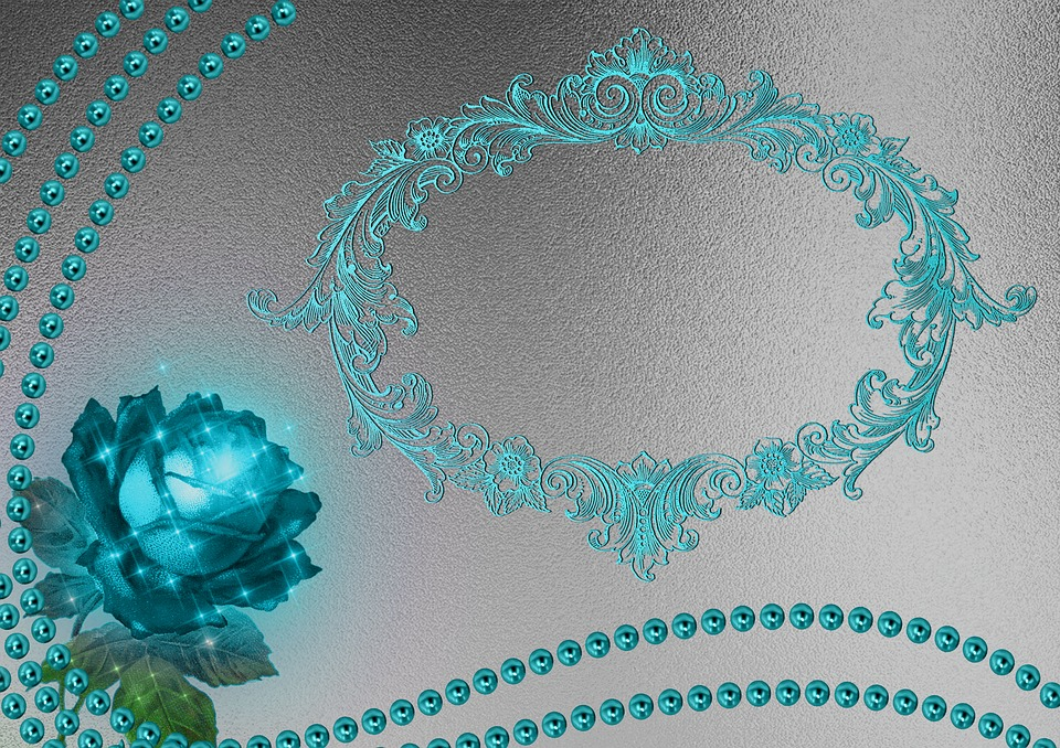 Beads Rose Background Ornament Turquoise Silver