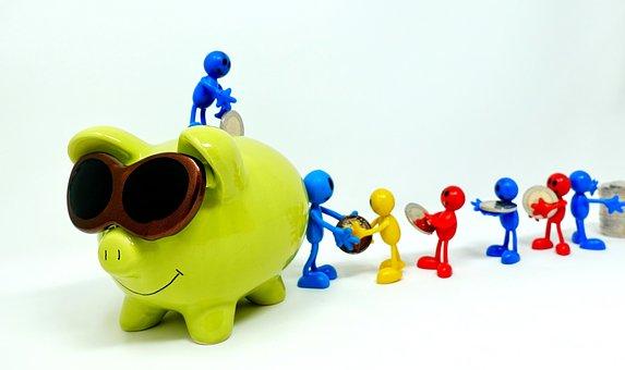 保存し, 貯金箱, チームワーク, 一緒に, お金, 金融, ユーロ, 控えめに