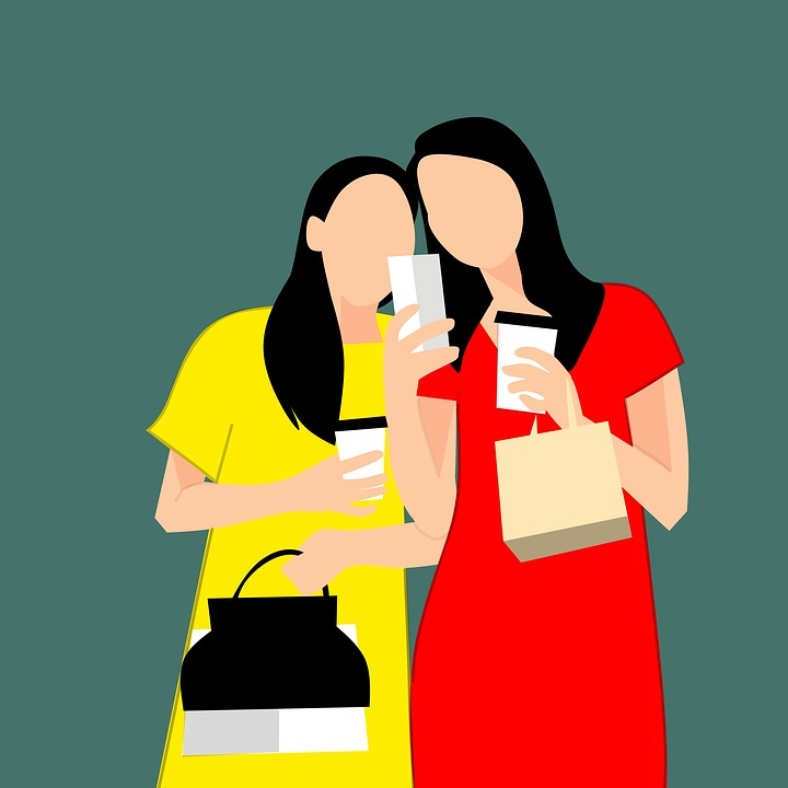 Women, Shopping, Friendship, Coffee, Drink