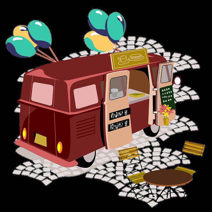 屋台, フードトラック, 移動販売, カフェ, 屋外