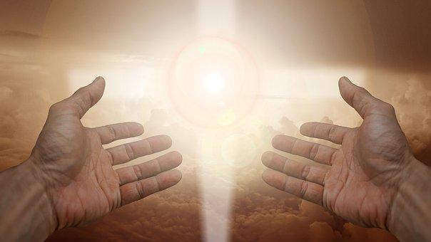 宗教, 信仰, クロス, 光, 手, 信頼, 神, 祈る, 祈り, 平和, 魂