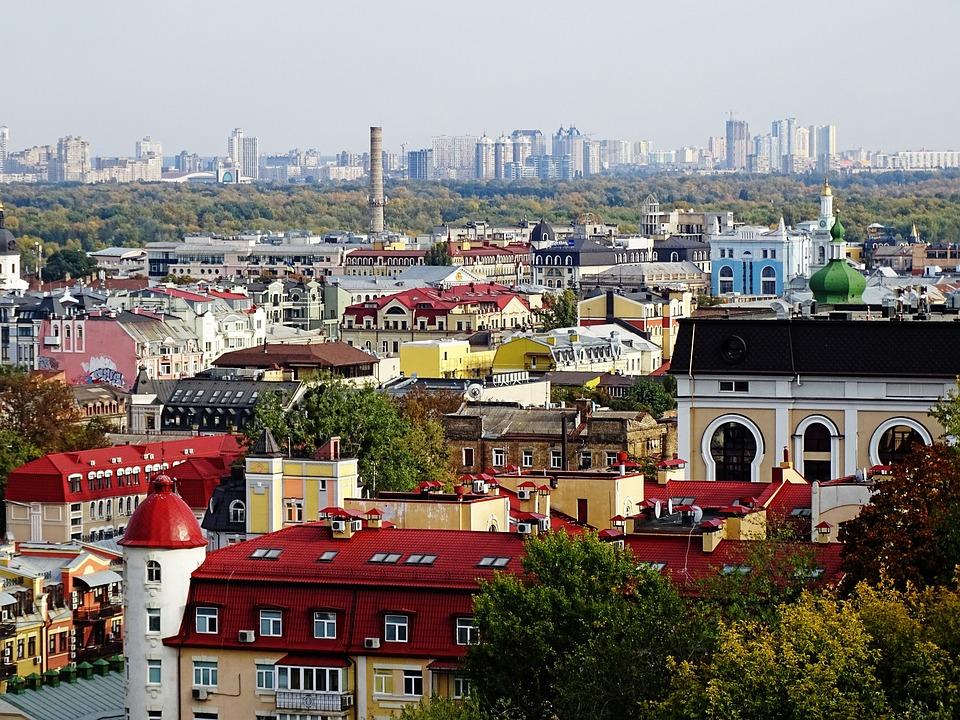Kijów, Ukraina, Architektura, W Domu, Miasto, Panorama