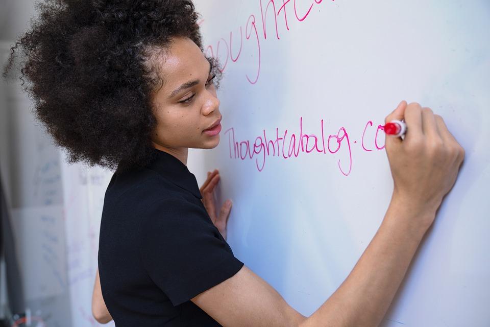 Woman, Writing, Marker, Whiteboard, Brainstorm