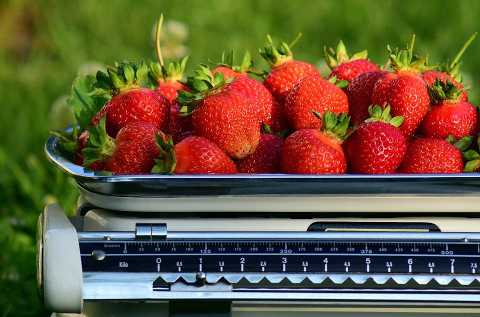 horizontal strawberries weigh weight fresh harvest
