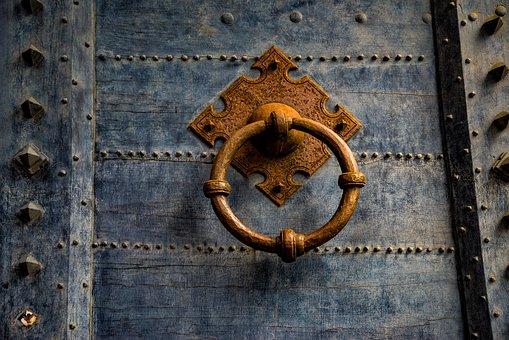Door, Wood, Antique, Ancient, Metal Ring