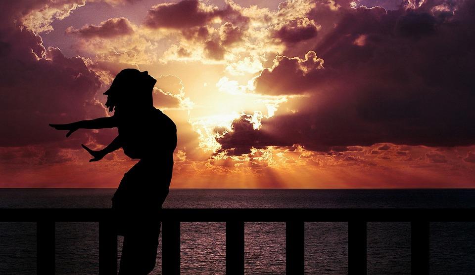 Vrouw, Geluk, Sunrise, Silhouet, Jurk, Strand, Vrijheid