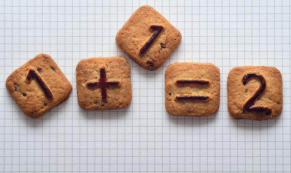 お支払い, クッキー, ペストリー, 甘い, カウント, 右, 不正確な, 数学