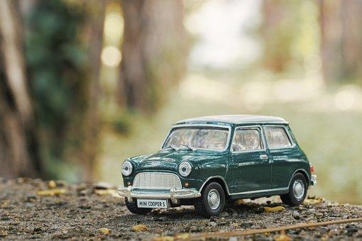 車, モデル, ミニ, クーパー, おもちゃ, 車両, 自動, ドライブ, 道路