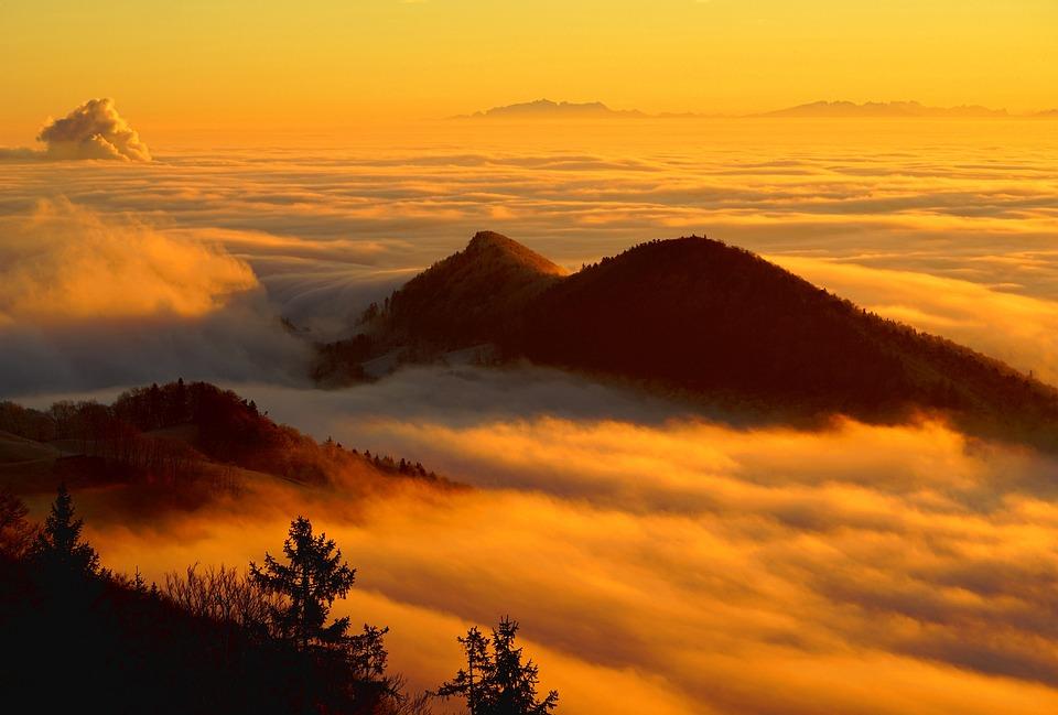 Niebla, Nubes, Mar De Niebla, Montaña, Paisaje, Homberg