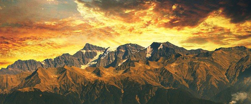 インド, ヒマラヤ, 風景, 自然, 山, 空, 丘, ヒマラヤ山脈の, 雪