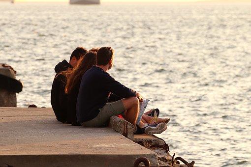 Jóvenes, Grupo, El Agua, Vacaciones, Mar