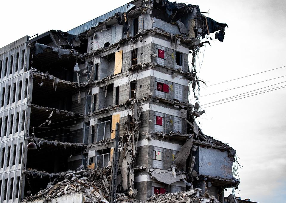 Maison, Corbeille, Ruine, En Béton, Destruction