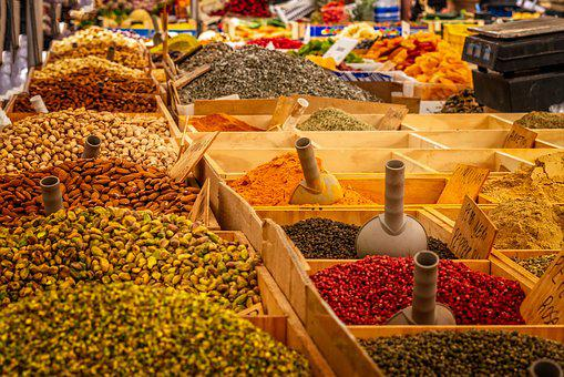 Market, Stand, Spices, Food
