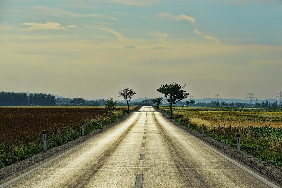 Por Carretera, Sólo, Sin Fin, Asfalto, Transporte