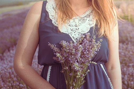 Lavender, Flower, Woman, Bouquet, Field