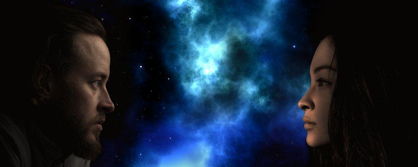 男, 女性, ビュー, お問い合わせ, 宇宙, スター, スペース, 人間