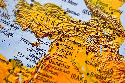 Map, Syria, Aleppo, Refugees, Asylum