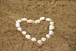 serce, muszelki, piasek