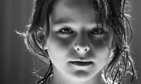 Niño, Chica, La Cara, Ojos, Muy, Retrato
